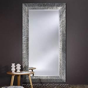 Miroir Rectangulaire Mural : miroir design grand miroir rectangulaire groove silver deknudt ~ Teatrodelosmanantiales.com Idées de Décoration