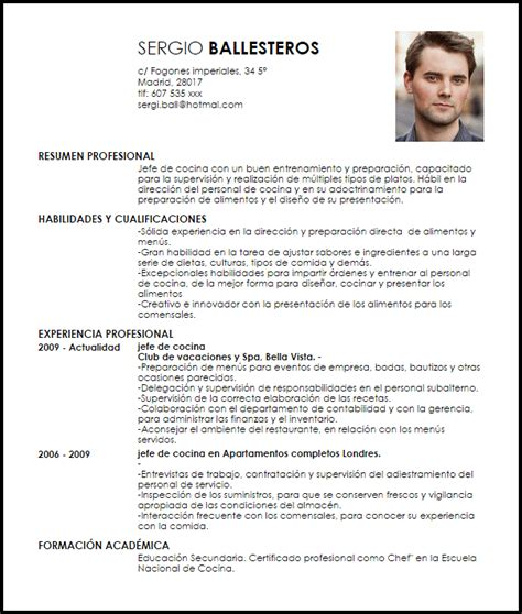 Exle Chef Cv by Modelo Curriculum Vitae Jefe De Cocina Livecareer