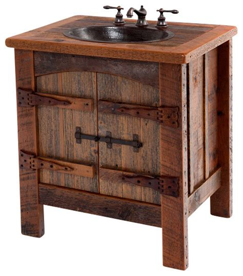 "Reclaimed Vanity With Hammered Copper Sink, 30"" Rustic"