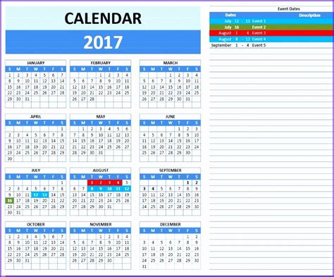 event calendar excel template exceltemplates