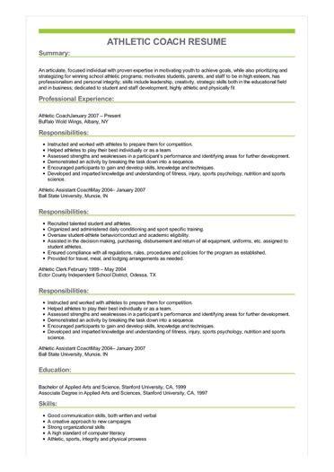 athletic coach resume great sample resume