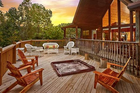 not shabby cabins usa cabin with sunken in hot tub on deck not too shabby