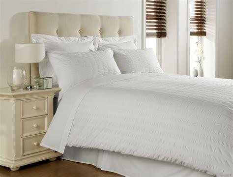White Cotton Blend Seersucker Double Duvet Comforter Cover