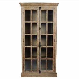 Tall Antique Glass Door Display Cabinet