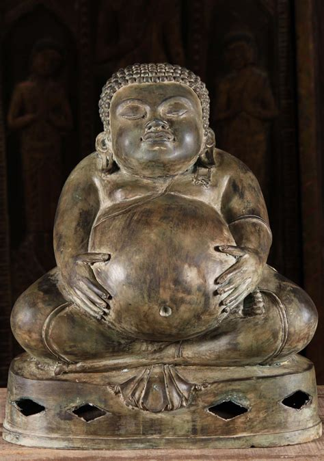 """Fat Buddha Statue Holding His Belly 19"""" (#58t2) Hindu"""