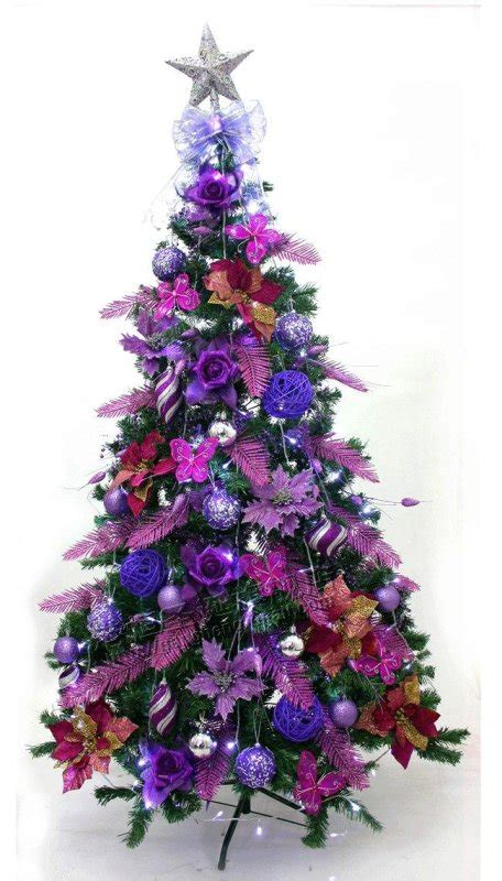 purple decorated christmas trees purple christmas tree decoration design 5322