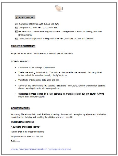 resume format for mba marketing experience 10000 cv and resume sles with free mba