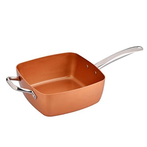 copper chef xl  piece  stick  long handle pan  tempered glass lid    high