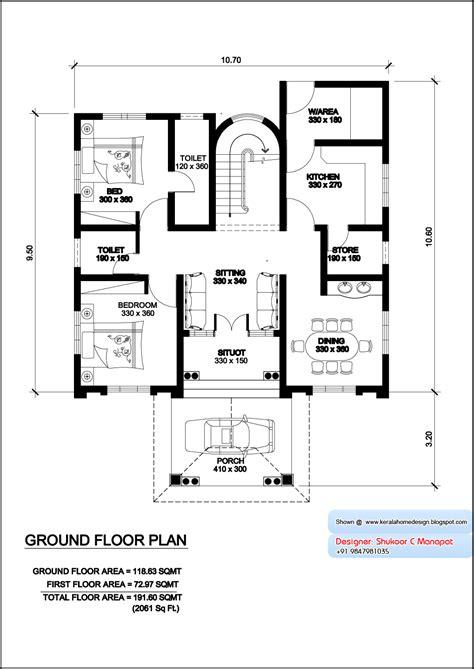 villa house plans kerala model villa plan with elevation 2061 sq