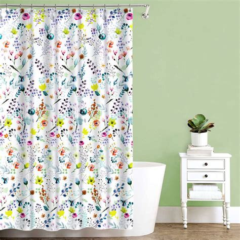 Floral Shower Curtains - fiore multi color floral print fabric shower curtain 70 quot x