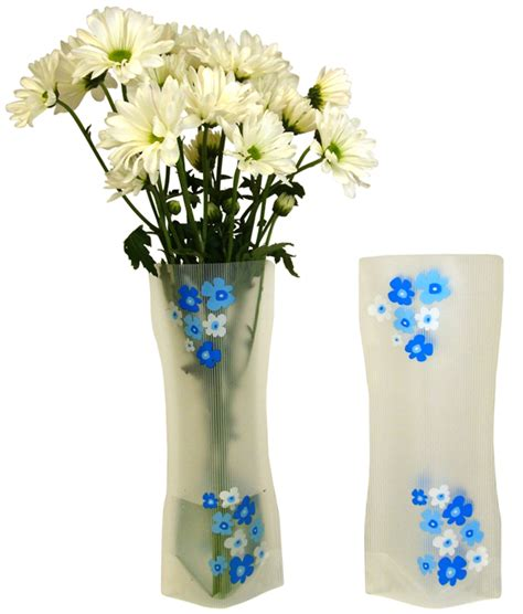 Plastic Floral Vase Blue White Flowers