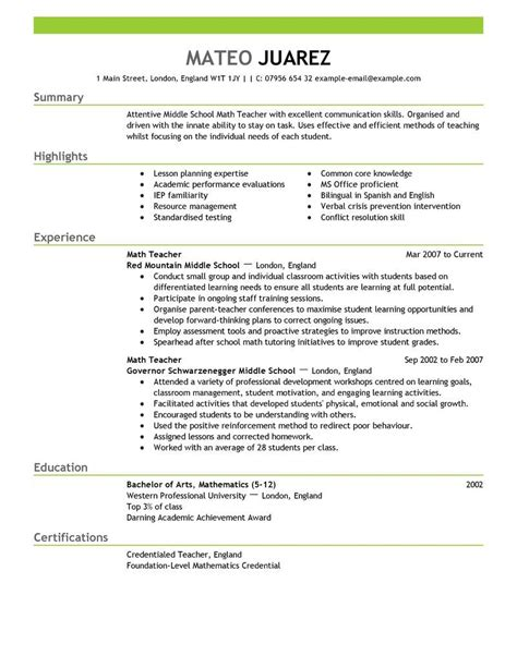 How To Write A Resume For Teachers by Resume Exles Substitute Resume Summary