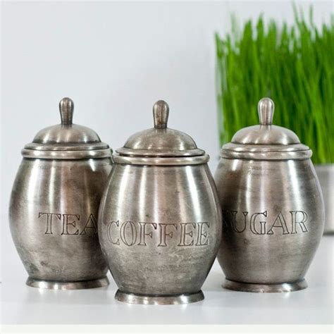 Kitchen Canisters Pewter by Cozytraditions S Save Of Vintage Set Of Jars Pewter
