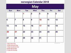 2018 Godt Nyttår Norsk Kalender Gratis Printable