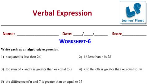 printable worksheets algebraic expressions  cbse math