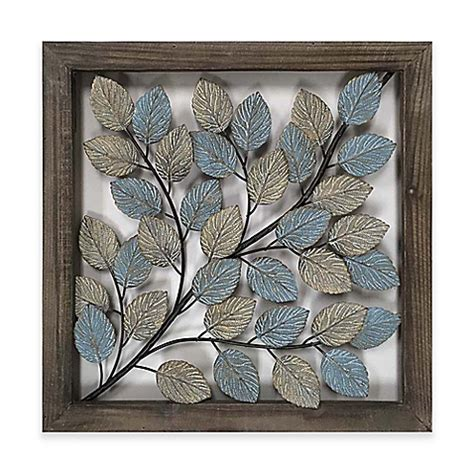 leaves metal wall art in blue cream bed bath beyond