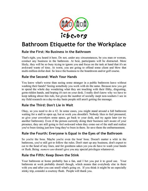 Bathroom Etiquette Signs For Office Toilet Etiquette Signs