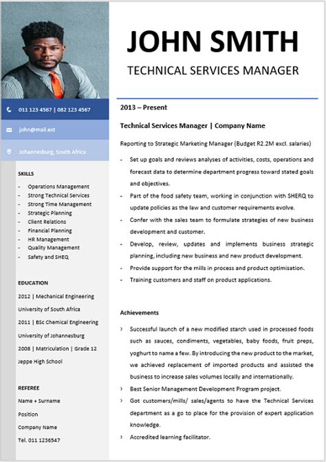 Technical Cv by Technical Services Manager Curriculum Vitae Professional