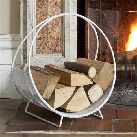 fireplace wood holder white log basket modern firewood racks