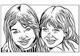 Coloring Pages Sisters Twin Printable Drawings sketch template