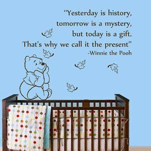 wall decal quotes winnie  pooh yesterday  history nursery room vinyl  ebay