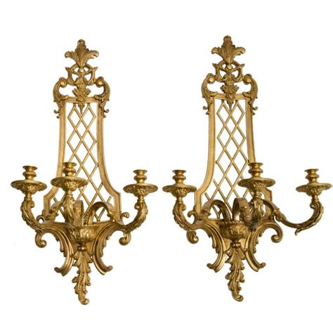 pair large french gilt bronze regence style wall sconces