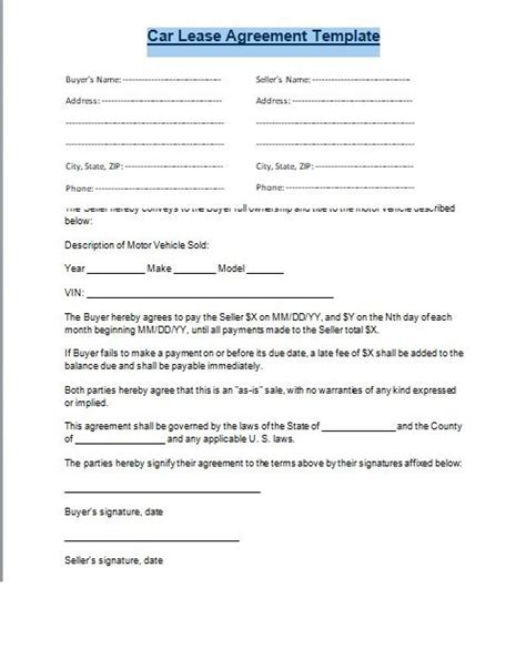 car lease agreement format word   httpexceltmp