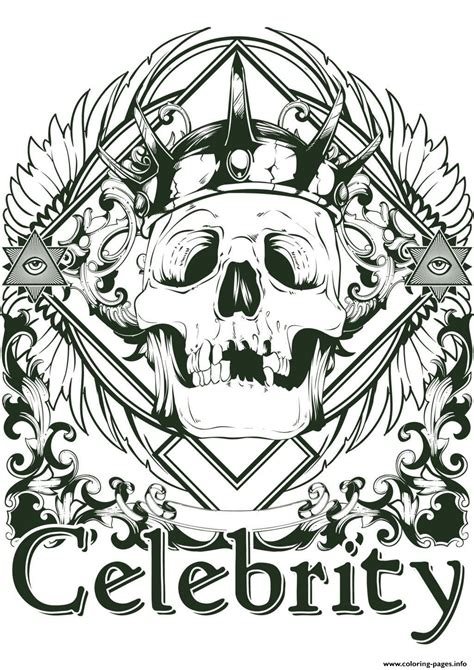 adult tattoo skeleton celebrity coloring pages printable