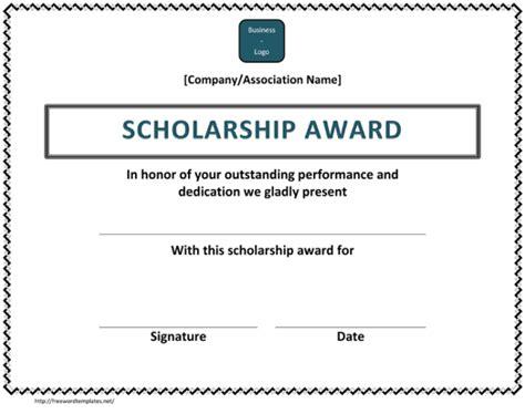 scholarship award certificate examples  word