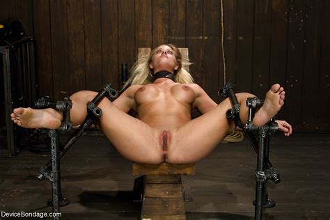 Machine Fucking Of Restrained Anus Belong To Busty Blonde
