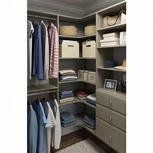 Closet Evolution 30 5 In  D X 30 5 In  W X 72 In  H Rustic Grey Wood Corner Closet Kit