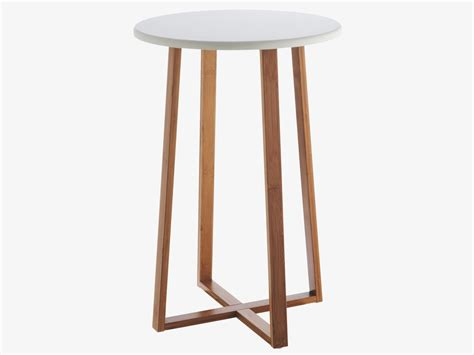 Drew Bamboo And White Lacquer Tall Side Table