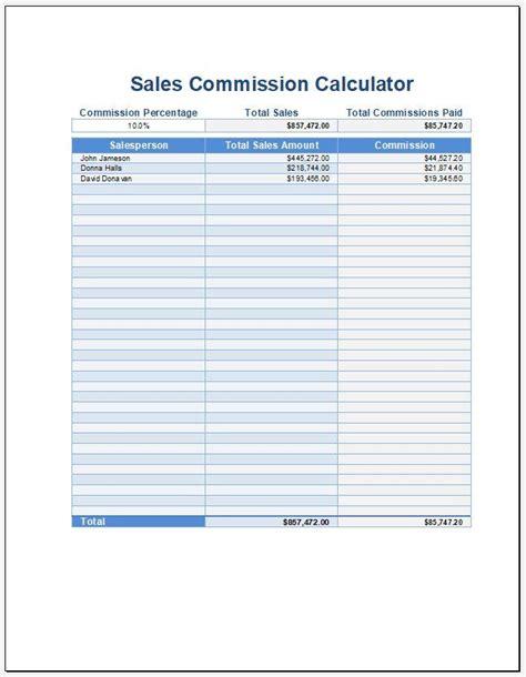 sales commission template  worksheet clickstarters