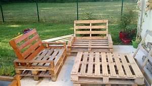 meuble jardin palette bois inspirations avec banc lounge With meuble de jardin avec palette en bois