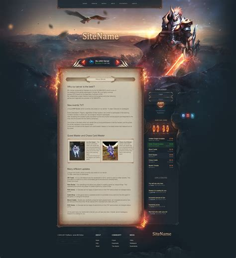 website templates fantasy raven fantasy web template