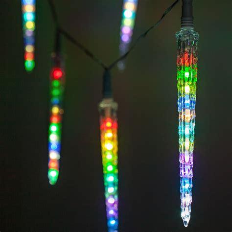 Les Light by Novelty Lights Rgb Cascading Icicle Lights 10 Led Lights