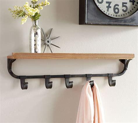 wall shelf with flat iron hooks pottery barn