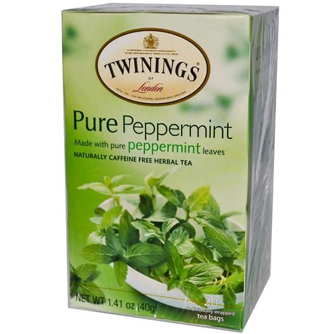 peppermint tea twinings pure peppermint tea caffeine free 20 tea bags 1 41 oz 40 g iherb com
