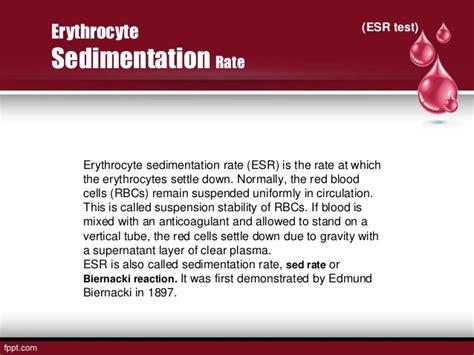 Blood Test Sed Rate Erythrocyte Esr