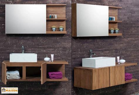 meuble de salle de bain en teck avec vasque miroir colonne meuble de salle de bain en teck