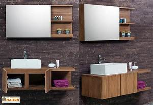 Salle De Bain Teck : meuble de salle de bain en teck avec vasque miroir ~ Edinachiropracticcenter.com Idées de Décoration