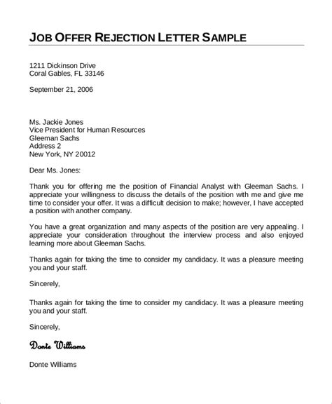 sample job rejection letter  examples  word