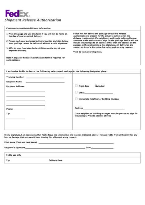 fillable fedex shipment signature release form release