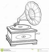 Gramophone Record Player Retro Grammofono Gramofone Coloring Fumetti Nere Oggetto Linee Isolato Coloritura Adulta Vettore Stile Bambini Libro Bianco Fondo sketch template
