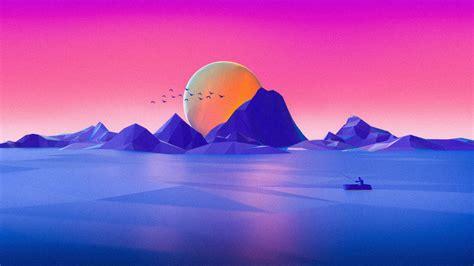 Wallpaper Landscape, Neon, Minimal, Pink, Sunset, Seascape