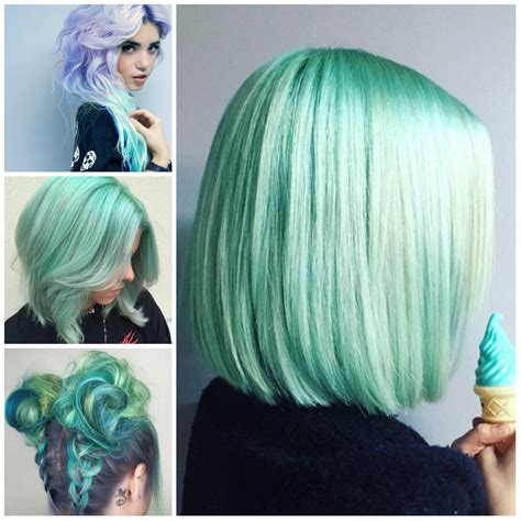 mint green hairstyles    haircuts hairstyles
