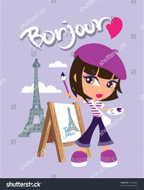 illustration cute artist paris stock vector