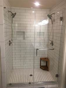 Master Bath Remodel 4 U0026quot  X 16 U0026quot  Subway Tile With Gray Grout