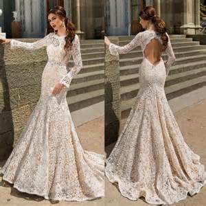 fitted wedding gowns modest mermaid wedding dresses bodice fitted sleeve 2016 hollow back trumpt ivory lace