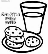 Cookies Coloring Milk Popular Colorings sketch template